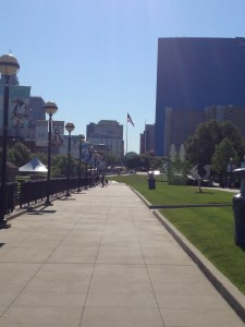 Cultural Trail and View of Downtown Indy