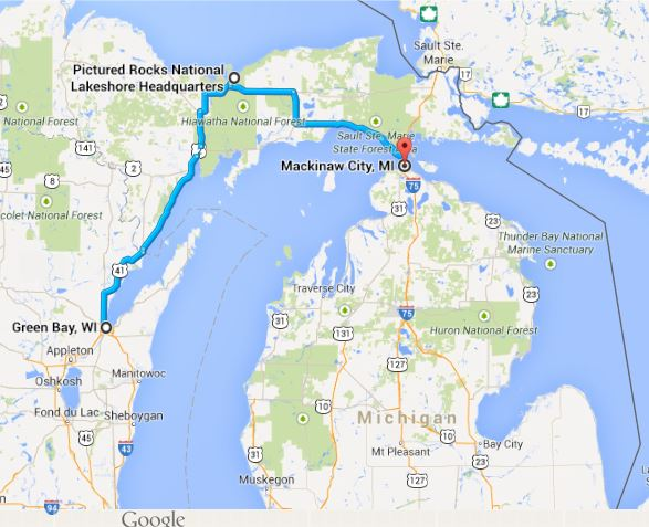 Picture Rocks Michigan Map.Pictured Rocks National Lakeshore Travels With Mary