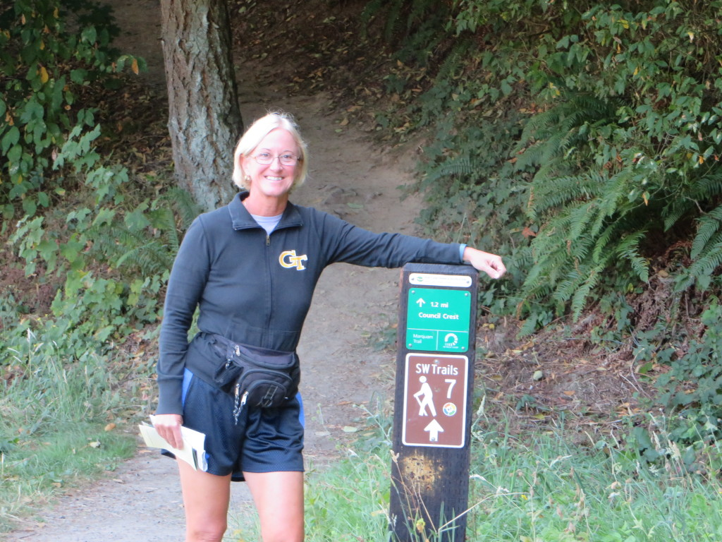 Mary at start of Trail Portion of 4T Adventure