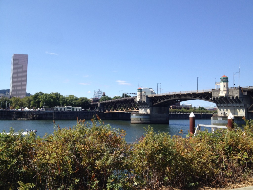 Burnside Bridge - with view of downtown and the Portland Oregon sign